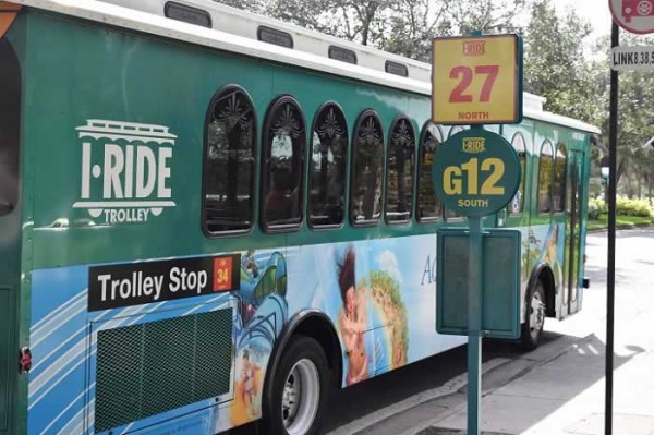IRide Trolley Buses travel along International Drive